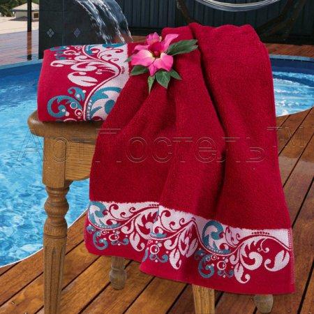 Набор полотенец (бордовый) хлопок, Арт Дизайн