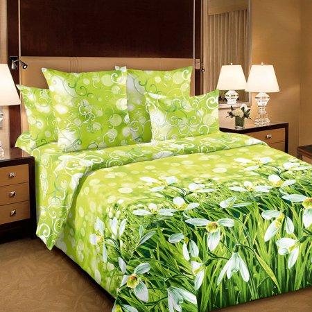 Постельное белье «Подснежники 1 зел» двуспальное с европростыней, Перкаль, Текс-Дизайн