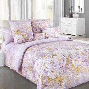 «Белый шиповник 3 фиол.» двуспальное с европростыней постельное белье, Перкаль, Текс-Дизайн