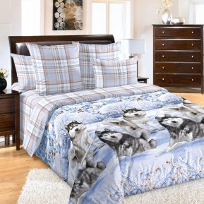«Хаски» двуспальное с европростыней постельное белье, Перкаль, Текс-Дизайн