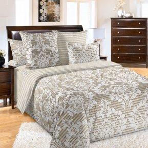 «Этикет 1 беж.» двуспальное с европростыней постельное белье, Перкаль, Текс-Дизайн