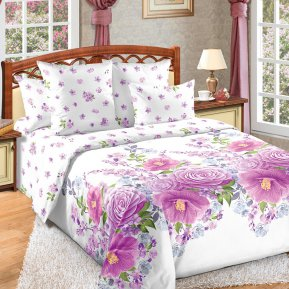 «Камелия 2 фиол.» двуспальное с европростыней постельное белье, Перкаль, Текс-Дизайн