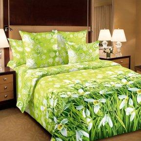 «Подснежники 1 зел.» 1,5 - спальное постельное белье, Перкаль, Текс-Дизайн