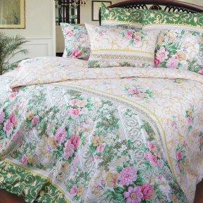 «Римский дворик (зел.)» двуспальное (на резинке) постельное белье, ПЕРКАЛЬ, Текс-Дизайн