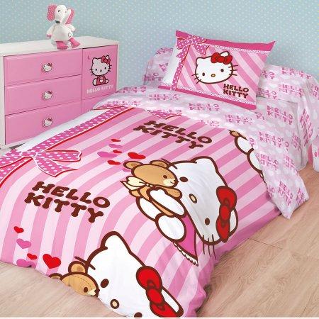 «Hello Kitty №1» 1,5 - спальное постельное белье, Ранфорс, НордТекс