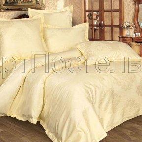 «Маркиза (шампань)» двуспальное с европростыней постельное белье, САТИН-Жаккард, Арт Дизайн