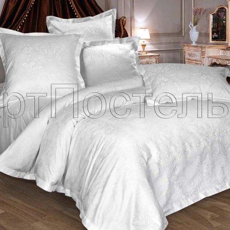 Постельное белье «Миледи (белоснежный)» двуспальное с европростыней, Сатин-Жаккард, Арт Дизайн