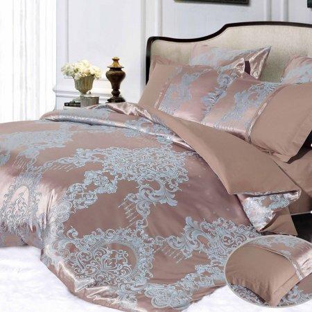 Постельное белье «CJA-4-019» двуспальное с европростыней, Сатин-Жаккард, АльВиТек