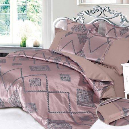 Постельное белье «CJA-4-018» двуспальное с европростыней, Сатин-Жаккард, АльВиТек