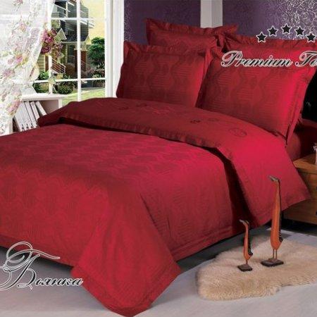 Постельное белье «Бьянка (бордовый)» двуспальное с европростыней, Сатин-Жаккард, Арт Дизайн