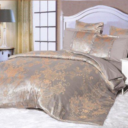 Постельное белье «21/036-SG» двуспальное с европростыней, Сатин-Жаккард, Cleo
