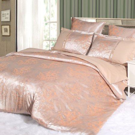 Постельное белье «21/039-SG» двуспальное с европростыней, Сатин-Жаккард, Cleo