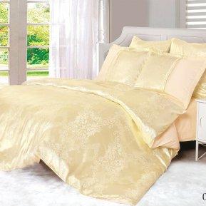 «21/066-SG» двуспальное с европростыней постельное белье, Сатин-Жаккард, Cleo