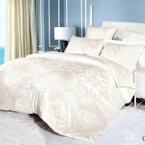 «21/075-SG» двуспальное с европростыней постельное белье, Сатин-Жаккард, Cleo