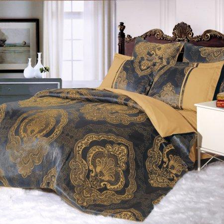 Постельное белье «21/042-SG» двуспальное с европростыней, Сатин-Жаккард, Cleo