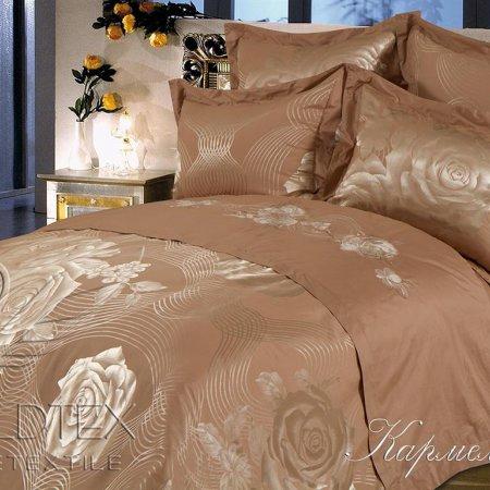 Постельное белье «Кармелина» двуспальное с европростыней, САТИН-Жаккард, Goldtex