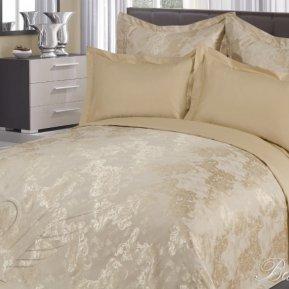 «Ванесса №2» двуспальное с европростыней постельное белье, САТИН-Жаккард, Goldtex