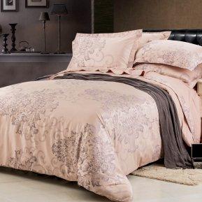 «F125» двуспальное+Евро постельное белье, САТИН-Жаккард, СайлиД