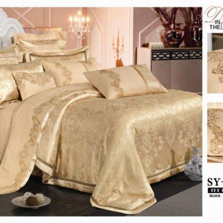 «220-127-173» двуспальное с европростыней постельное белье, Сатин-Жаккард, Вальтери