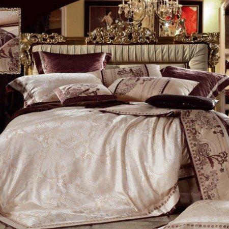 «220-85-173» двуспальное с европростыней постельное белье, Сатин-Жаккард, Вальтери