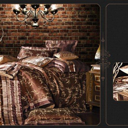 «220-96-173» двуспальное с европростыней постельное белье, Сатин-Жаккард, Вальтери