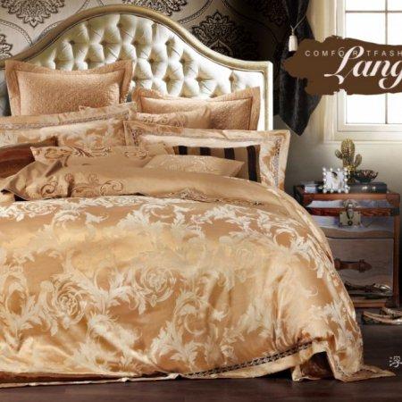«220-124-173» двуспальное с европростыней постельное белье, Сатин-Жаккард, Вальтери