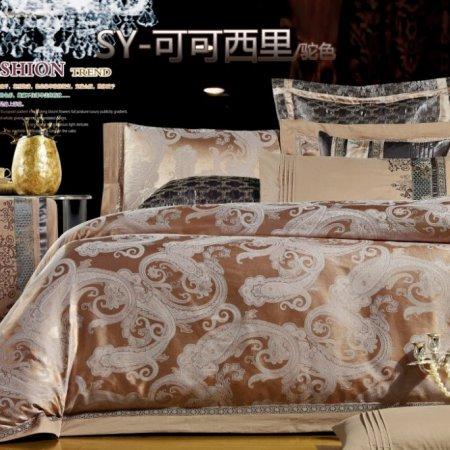 «220-131-173» двуспальное с европростыней постельное белье, Сатин-Жаккард, Вальтери