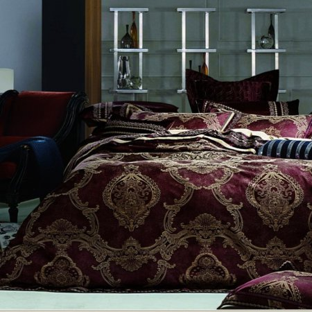 «220-90-173» двуспальное с европростыней постельное белье, Сатин-Жаккард, Вальтери