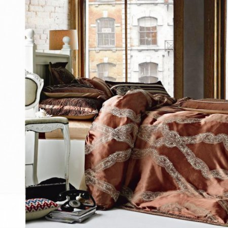 «220-97-173» двуспальное с европростыней постельное белье, Сатин-Жаккард, Вальтери