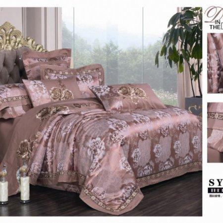 «220-129-173» двуспальное с европростыней постельное белье, Сатин-Жаккард, Вальтери