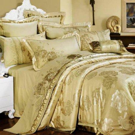 «220-45-173» двуспальное с европростыней постельное белье, Сатин-Жаккард, Вальтери