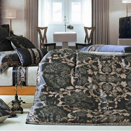 «220-95-173» двуспальное с европростыней постельное белье, Сатин-Жаккард, Вальтери
