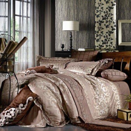 «220-81-173» двуспальное с европростыней постельное белье, Сатин-Жаккард, Вальтери
