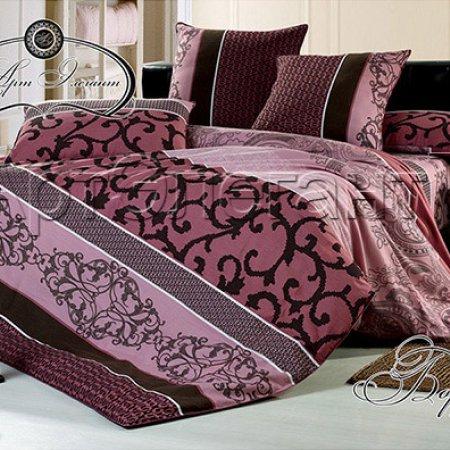 Постельное белье «Бордо» двуспальное с европростыней, Сатин-Велюр, Арт Дизайн