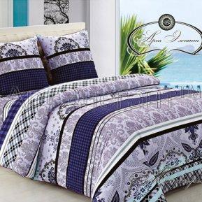 «Монтерей (синий)» ЕВРО постельное белье, САТИН-Велюр, Арт Дизайн
