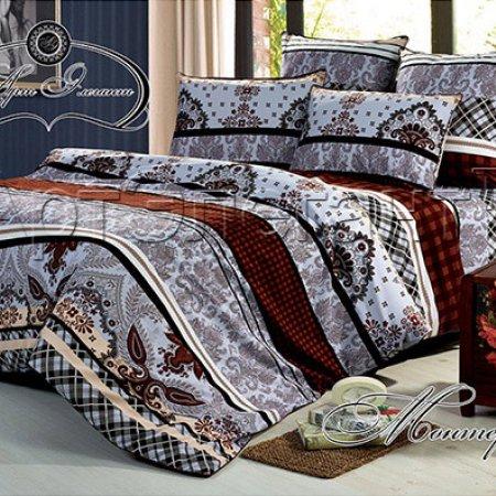 Постельное белье «Монтерей (коричневый)» двуспальное с европростыней, Сатин-Велюр, Арт Дизайн