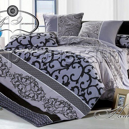 Постельное белье «Неаполь №2» двуспальное с европростыней, Сатин-Велюр, Арт Дизайн