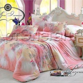«Розетта (розовый)» ЕВРО постельное белье, САТИН-Велюр, Арт Дизайн