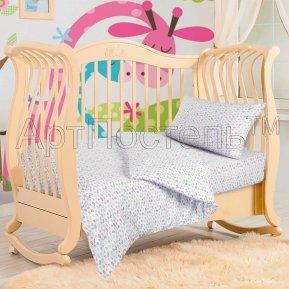 «Бабочки» дет. кроватка на резинке постельное белье, ТРИКОТАЖ, Арт Дизайн