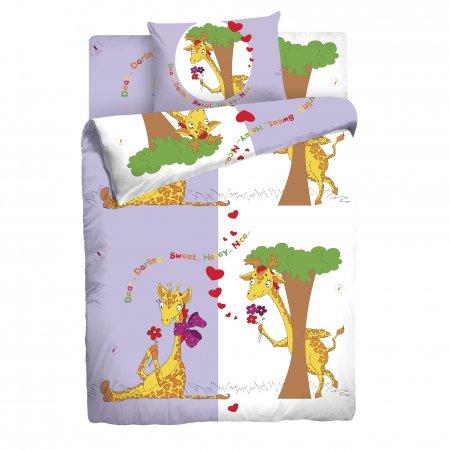 «Влюбленные жирафы» 1,5 - спальное постельное белье, Бязь, НордТекс