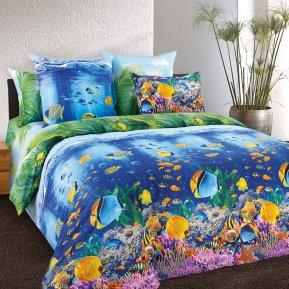«Подводный мир» двуспальное с европростыней постельное белье, Бязь, Текс-Дизайн