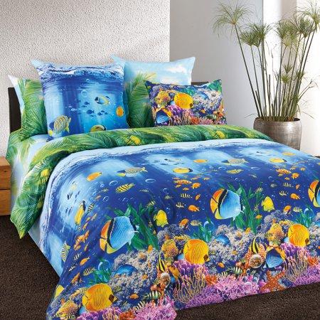 Постельное белье «Подводный мир» двуспальное с европростыней, Бязь, Текс-Дизайн