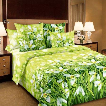 Постельное белье «Подснежники 1 зел» двуспальное с европростыней, Бязь, Текс-Дизайн