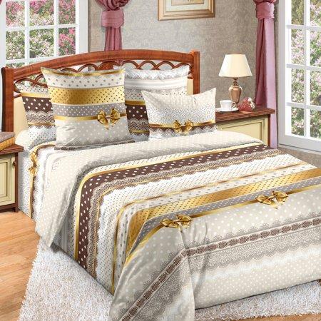 Постельное белье «Ненси 1 беж.» двуспальное с европростыней, Бязь, Текс-Дизайн