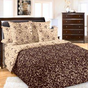 «Вензель 1 коричн.» двуспальное постельное белье, Бязь, Текс-Дизайн