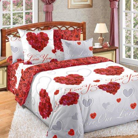 Постельное белье «Вечная любовь» двуспальное с европростыней, Бязь, Текс-Дизайн