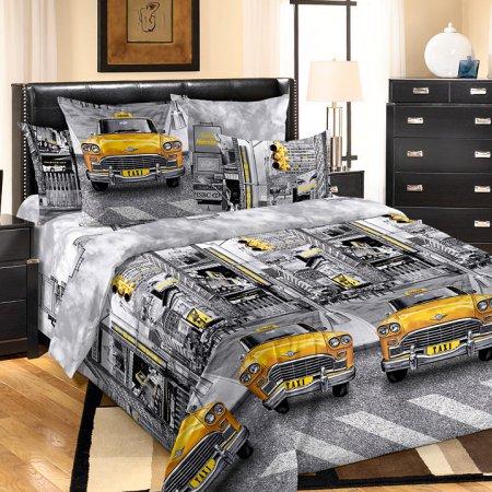 Постельное белье «Такси» двуспальное с европростыней, Бязь, Текс-Дизайн