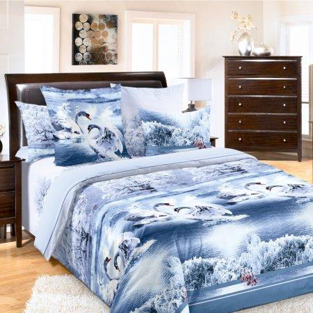Постельное белье «Лебединое озеро 1 син.» двуспальное с европростыней, Бязь, Текс-Дизайн