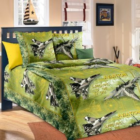 «Стражи неба (зеленый)» 1,5 - спальное постельное белье, БЯЗЬ, Текс-Дизайн