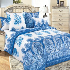 «Гжель (синий)» двуспальное постельное белье, БЯЗЬ, Текс-Дизайн